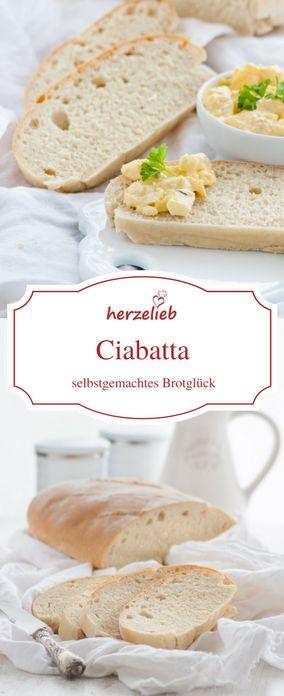Ein Rezept für ein Ciabatta Brot von herzelieb. Brot backen kann so einfach sein! Brot backen Rezepte - mehr findet ihr auf dem Blog!
