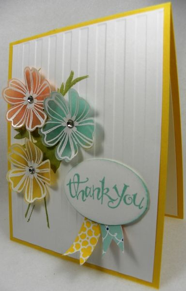 Stampin' Up! stamp sets, Flower Shop (& matching pansy punch), Fabulous Florets & Sassy Salutations; vellum, white embossing powder, stripes embossing folder