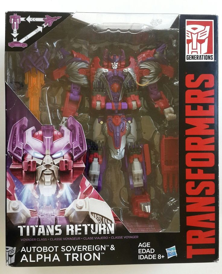Transformers 2016 Titans Return Autobot Sovereign and Alpha Trion Voyager Class   The Autobots unite with Titan master to power up for battle. Autobot sovereign carries the energy of Primus. - Voyager Class Astrotrain. -Titan Master Brawn. - Deluxe Class Chromedome. - Leader Class Soundwave.   eBay!