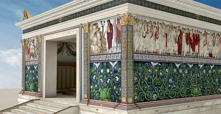 """Rome. The colors of the Ara Pacis, research and experimentation to """"restore color"""" to one of the symbols of the period of Augustus, the Ara Pacis, conducted in recent years by the Superintendence of Cultural Heritage of the City of Rome, from the Vatican Museums and Science Labs by the University of Tuscia."""
