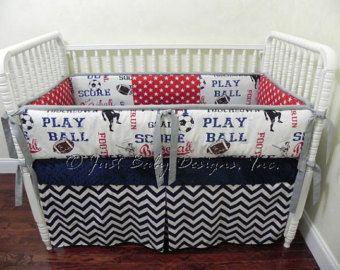 Baseball Crib Bedding Set Wesley Baby Boy by BabyBeddingbyJBD