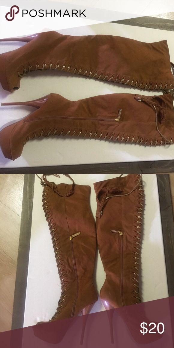 Women's Boots Women's over the knee boots: worn maybe twice, peanut butter color $20 Shoes Over the Knee Boots