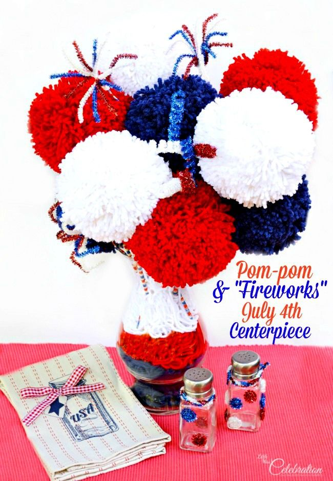 """Turn yarn, bamboo skewers and tinsel chenille stems into a big, fun Pom-pom & """"Fireworks"""" July 4th centerpiece! At littlemisscelebration.com"""
