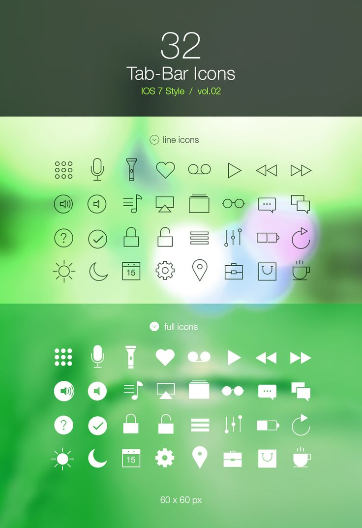 Tab Bar Icons iOS 7 Vol2 - Icons - Fribly