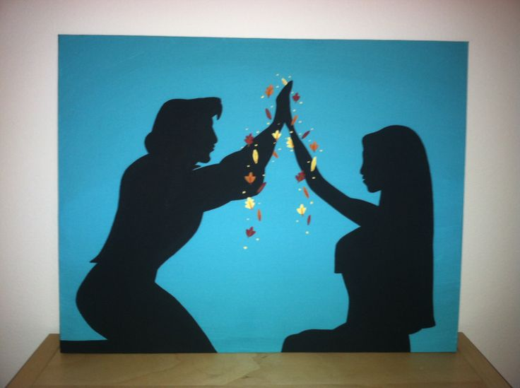 Pocahontas+and+John+Smith+Silhouette+on+Canvas+by+PotterPillows,+$25.00