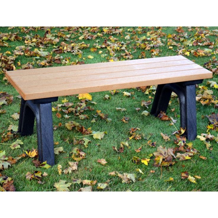 outdoor polly products deluxe 4 ft commercial grade recycled plastic backless bench asm