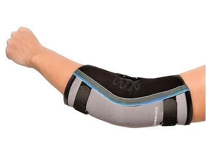 REHBAND HYPER-X ELBOW SUPPORT - An elbow support used to prevent hyper-extension of elbow joint. Features aluminium splints on both side of elbow to offer lateral stabilization. Ideal for severe instability and hyper mobility of elbow joint. A$194.95