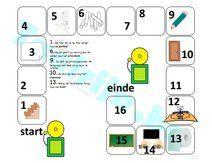 Spelbord thema school om met anderstalige nieuwkomers en leerlingen Nederlands te oefenen.