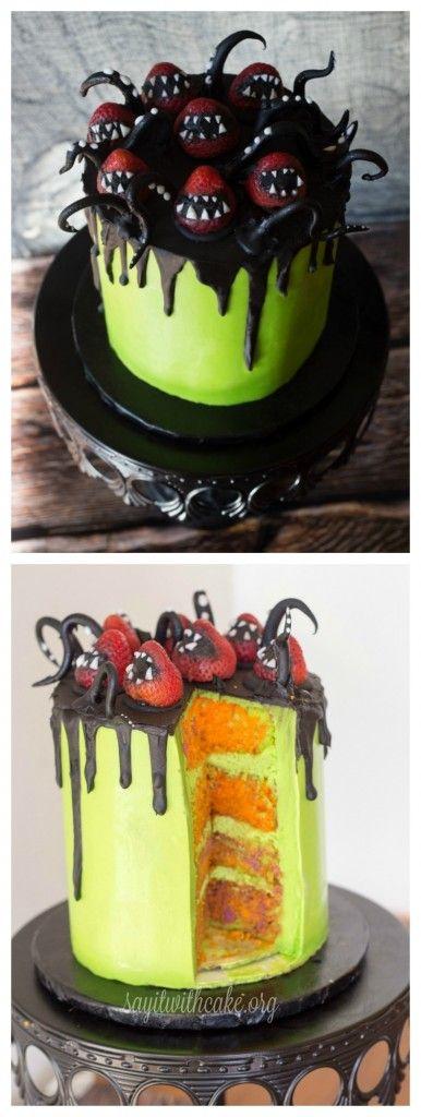 Creepy Halloween Cake | www.sayitwithcake.org | #halloweencake