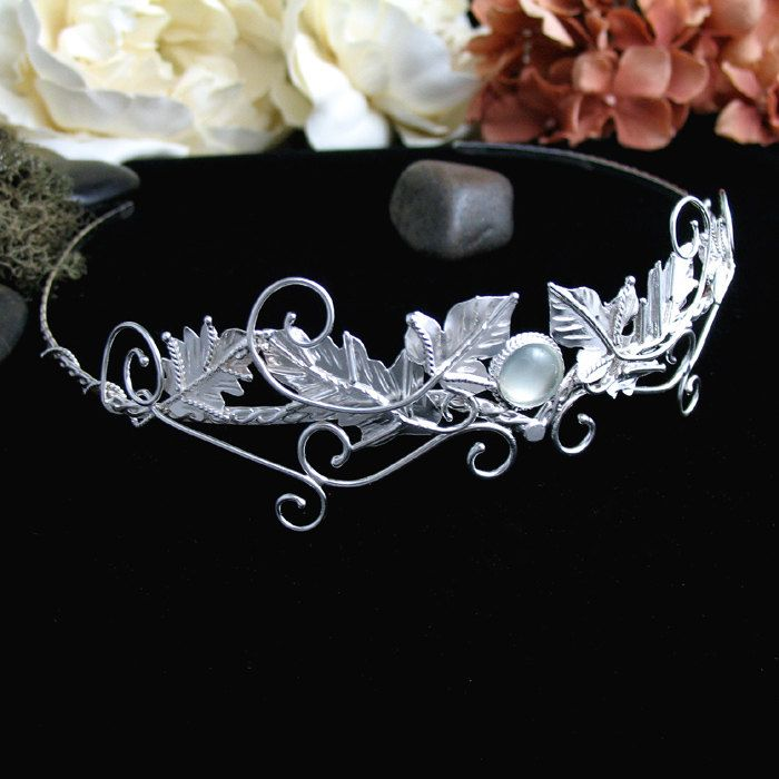 Celtic Faery Leaves Wedding Circlet Headpiece, Bridal Accessory, Sterling Silver Handmade on