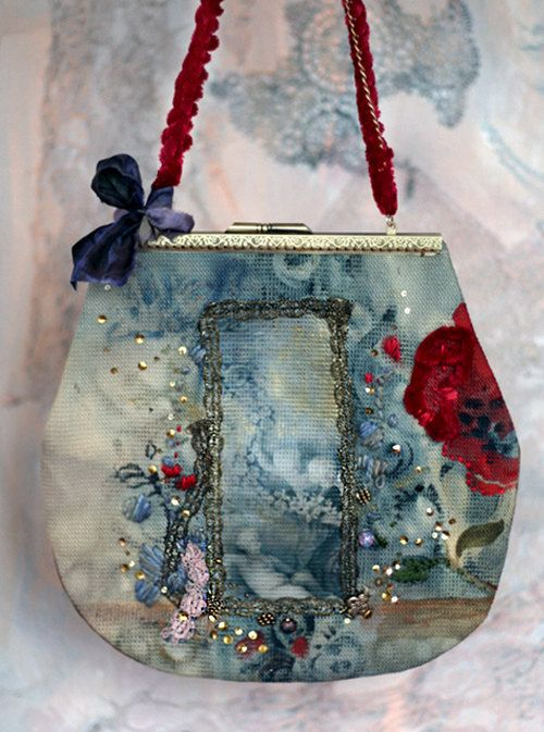 Palazzo Embroidered Purse From Vintage Textiles Trims Wearable Art