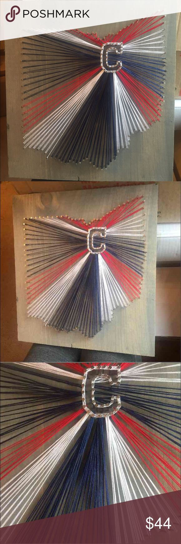"Cleveland Indians Ohio string art Indians string art. Handmade. 12x11"" grey stain wood. Hanger on the back. Perfect for a gift Other"
