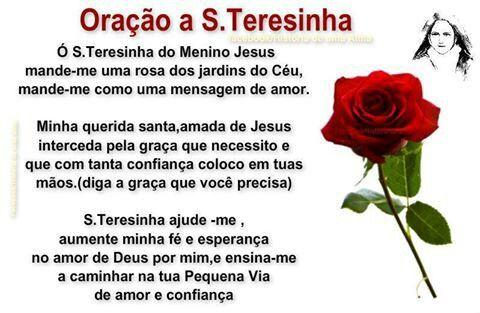 ORAÇÃO... SANTA  TEREZINHA DO MENINO JESUS...  :-)
