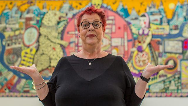 http://www.bbc.co.uk/programmes/p02rtgpc    Jo Brand visits Grayson Perry's Provincial Punk exhibition at the Turner Contemporary.  Entertainment meets art
