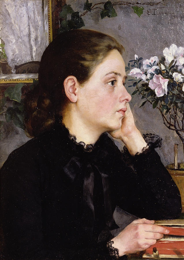 Thoughtful, Sophie Thomensen Werenskiold by Erik Werenskiold (Norwegian 1855-1938)