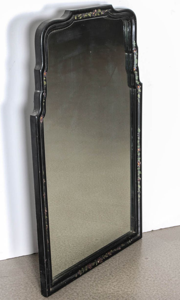 Williams sonoma home five panel beveled mirror - Williams Sonoma Home Five Panel Beveled Mirror 1940s Queen Anne Chinoiserie Ebony Mirror From A