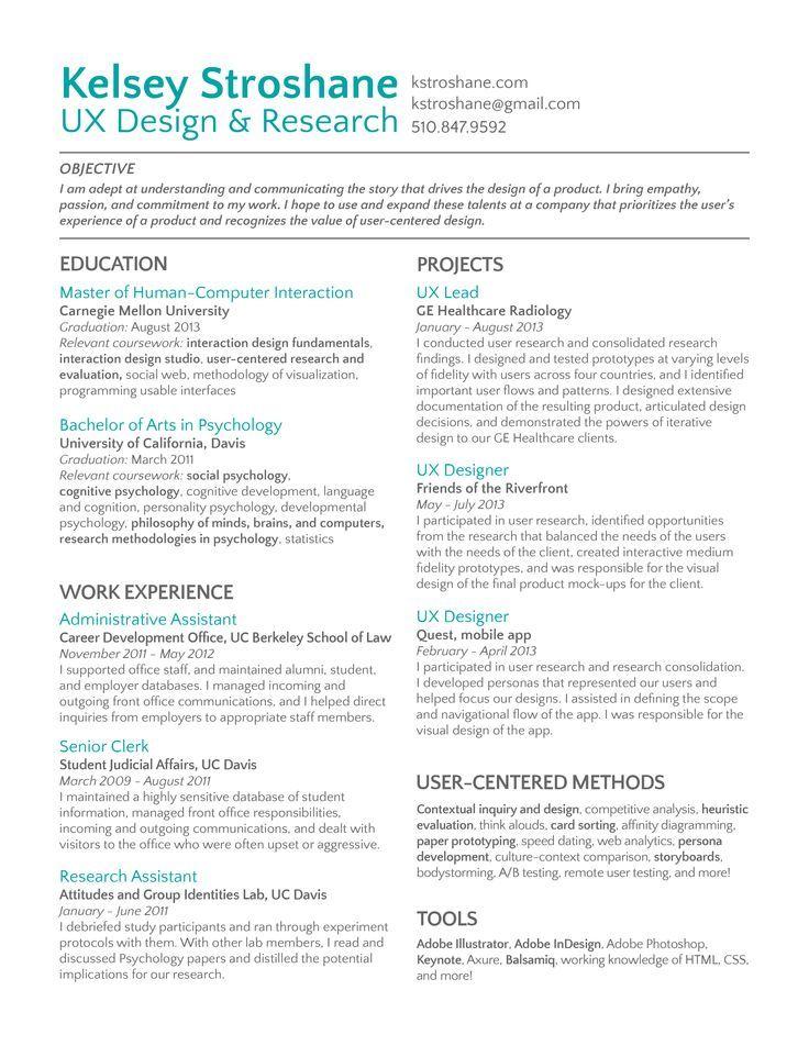 Resultado de imagen para ux resume resume design