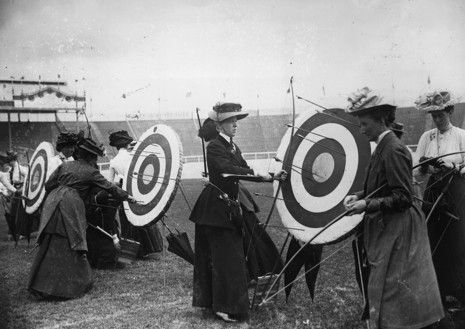 The 1908 Olympics in London (Great Britain Archery Team), via http://vintageinspiredclothing.net/vintage-olympic-style.