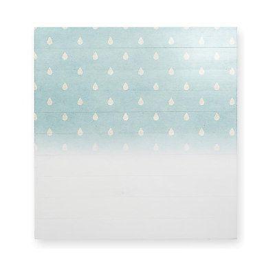 Testiera Pioggia in legno di pino  blu chiaro e grigio chiaro  115 x 5 x 105 cm