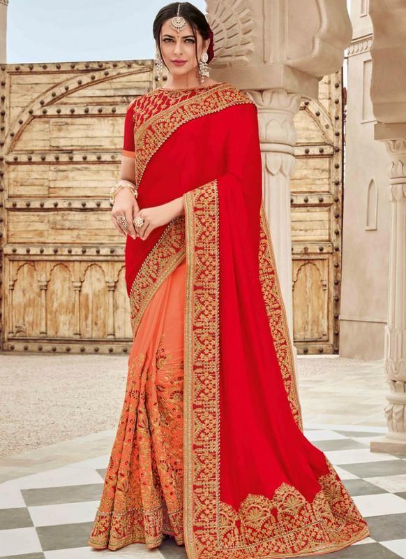 f50234e79d SareeBuzz Red And Peach Satin Silk Designer in 2019   Sarees   Saree ...