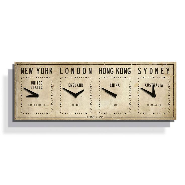 Discover the Newgate Clocks Fleet Street Time Zone Clock - Aged Cream - 29 x 81 x 4.5cm at Amara