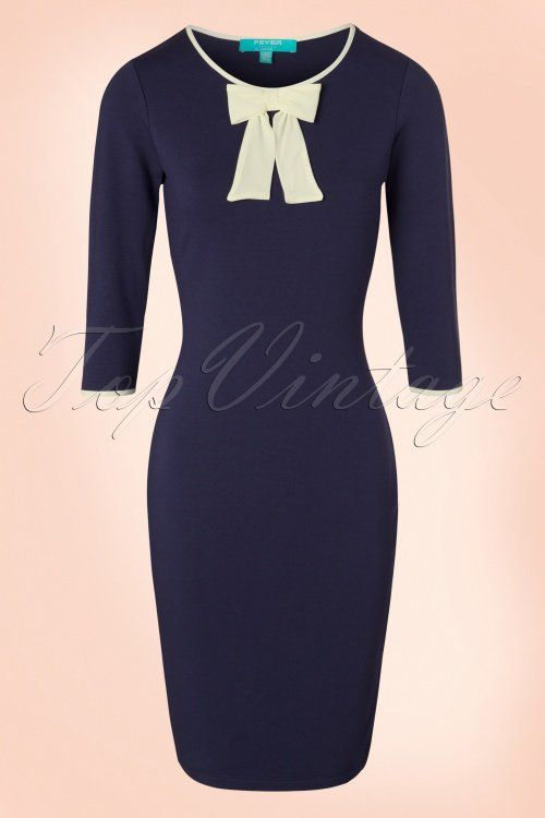 Fever - 60s Michelle Bow Pencil Dress in Navy