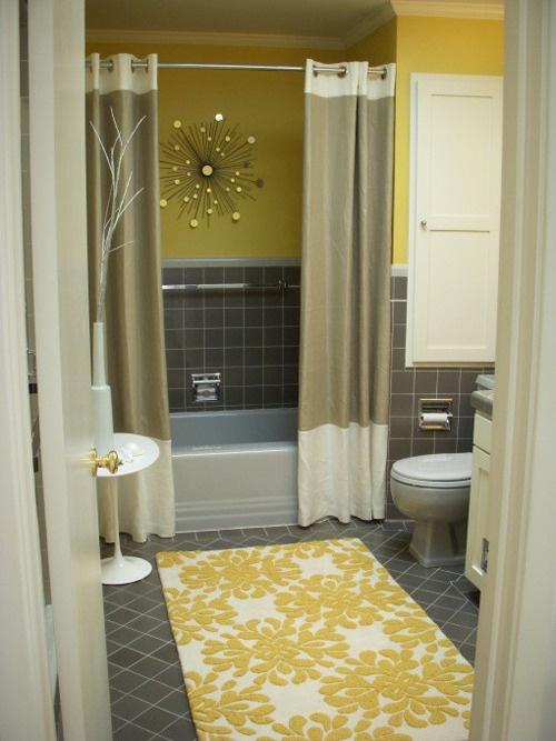 yellow & grey bathroomBathroom Design, Bathroom Interior, 30 Brilliant, Brilliant Bathroom, Bathroom Organization, Bathroom Ideas, Bathroom Organic, Shower Curtains, Design Bathroom