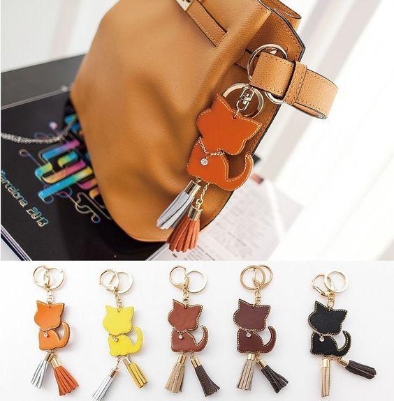 NEW A262 Italian Cow Leather Cat Tassel Bag Charm Gold Key Ring Key Finder Chain #POPKORS