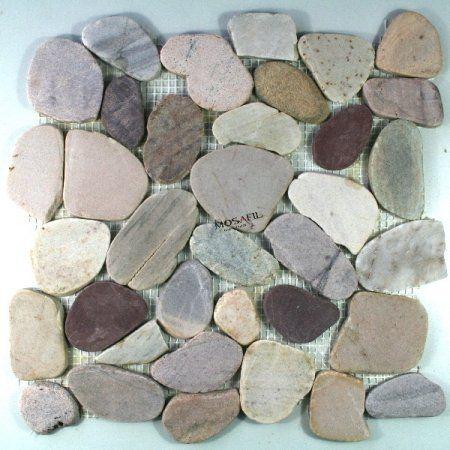 Flussstein Mosaik Kieselstein Fliesen Bunt Mix Gesägt Mosafil  Http://www.amazon.