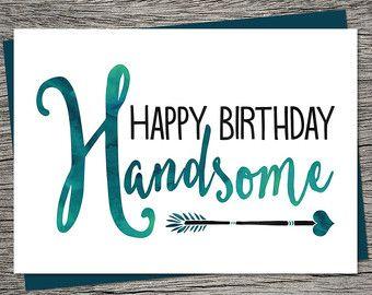 Boyfriend Birthday Card Husband Birthday Card Happy by KatieVaz