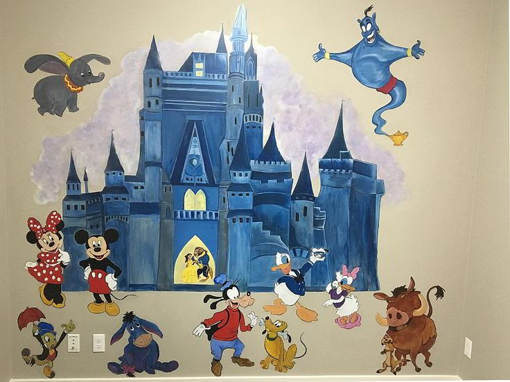 Playroom mural, many well loved characters and a castle too.