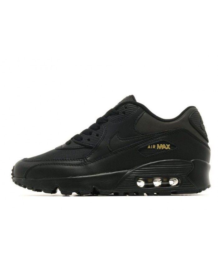 ecb16f6fc Nike Air Max 90 Junior Black Gold Womens Trainers