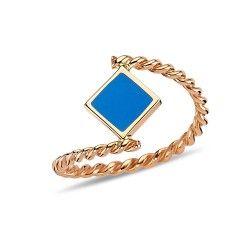 Pembe Altın/Mavi Mineli Karo Burgu Yüzük #elijahjewels #ring #rose #gold #thin #pembealtin #yuzuk #14k #zarif #istanbul #grandbazaar #design #style #fashion #jewellery #jewel #jewelry #whitegold #love #takı #mücevher #pırlanta #blue #mavi #burgu #spiral #mine #colour