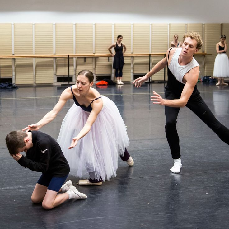 Ben, Lana Jones and Adam Bull. Ben is an ITP student of The Australian Ballet School rehearsing with The Australian Ballet.