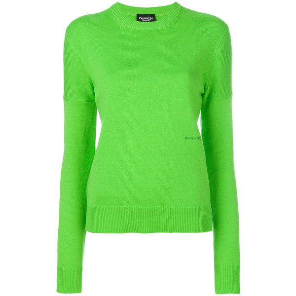 CALVIN KLEIN 205W39NYC Logo Crew Neck Jumper (2,895 PEN) ❤ liked on Polyvore featuring tops, sweaters, green, logo sweaters, long sleeve tops, cashmere jumpers, j.crew cashmere sweaters and green jumper