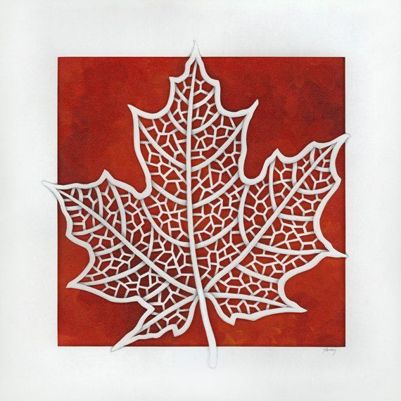 Maple Leaf  Original Papercut and Painting by berskart on Etsy, $245.00
