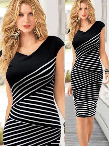 Striped Slim Work Cocktail Sleeveless Pencil Dress