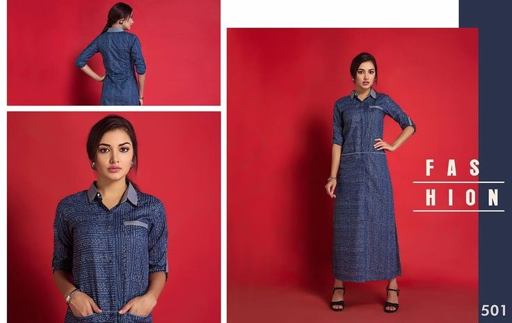 Blue cotton Long tunic with pockets