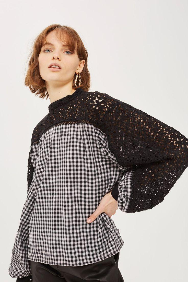 L2017 http://www.topshop.com/en/tsuk/product/clothing-427/shirts-blouses-4650801/gingham-lace-smock-blouse-6835805?bi=0
