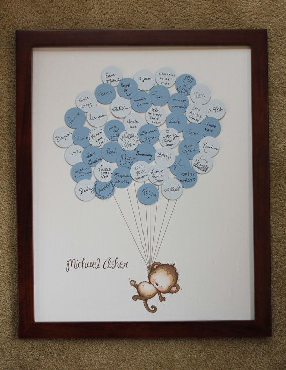 Baby Shower Guestbook-Monkey with Stripes for up to 50 Guests via Etsy