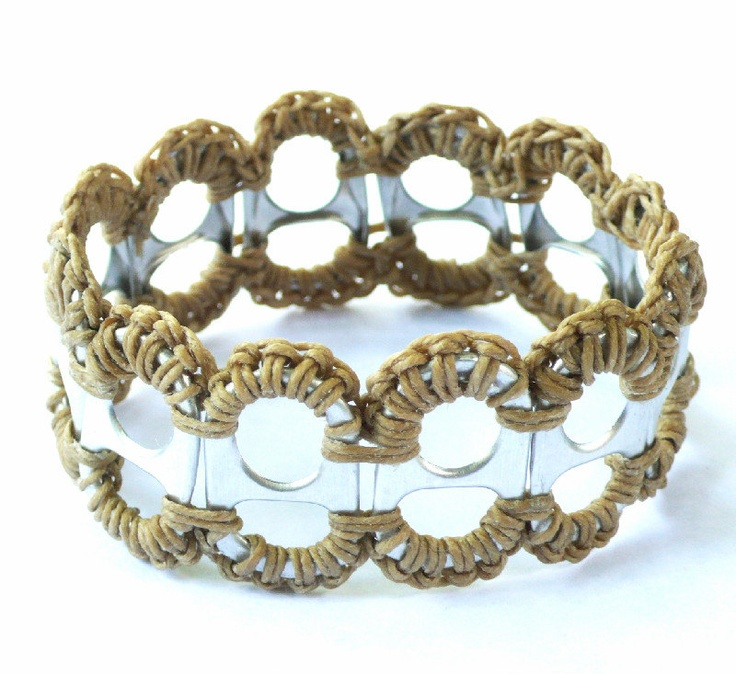 Recycled Pop Tab and Crochet Bracelet in Natural.