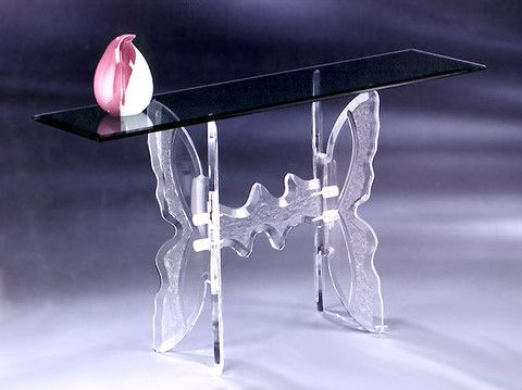 "La Mariposa Console Table   Dimensions:  16"" X 54"" Beveled Glass Top"