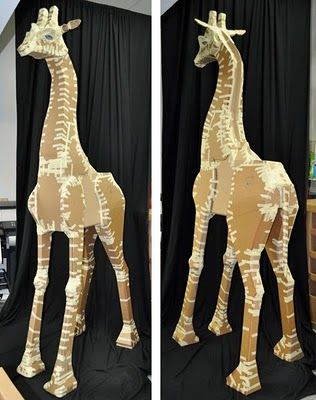 Corrugated cardboard structure for Nesse the 9-foot paper mache Giraffe