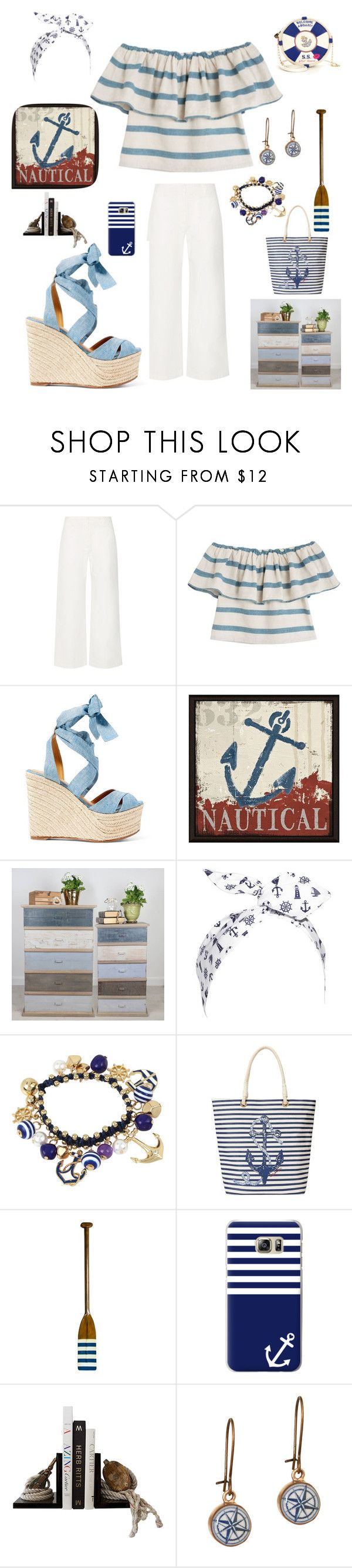 """Summer Nautical Sandals"" by kotnourka ❤ liked on Polyvore featuring The Row, Mara Hoffman, Ralph Lauren, Green Leaf Art, Dibor, bleu, C. Wonder, Authentic Models, Casetify and Stefanie Phan"