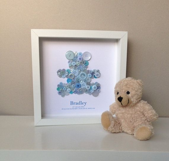 Baby Shower Arts And Crafts Part - 17: Personalised Christening Artwork - New Baby Button Art - Baby Shower Gift -  New Parents -