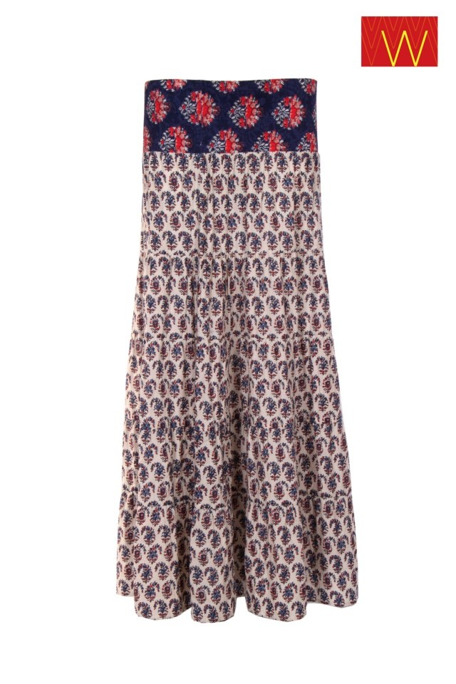 You would love to wear; this to die for.Printed Skirt in Off White Color.  #w #woman #fashion #style #long skirt #print #floral #color #mix #summer #spring #wear #bottom #off #white #cotton