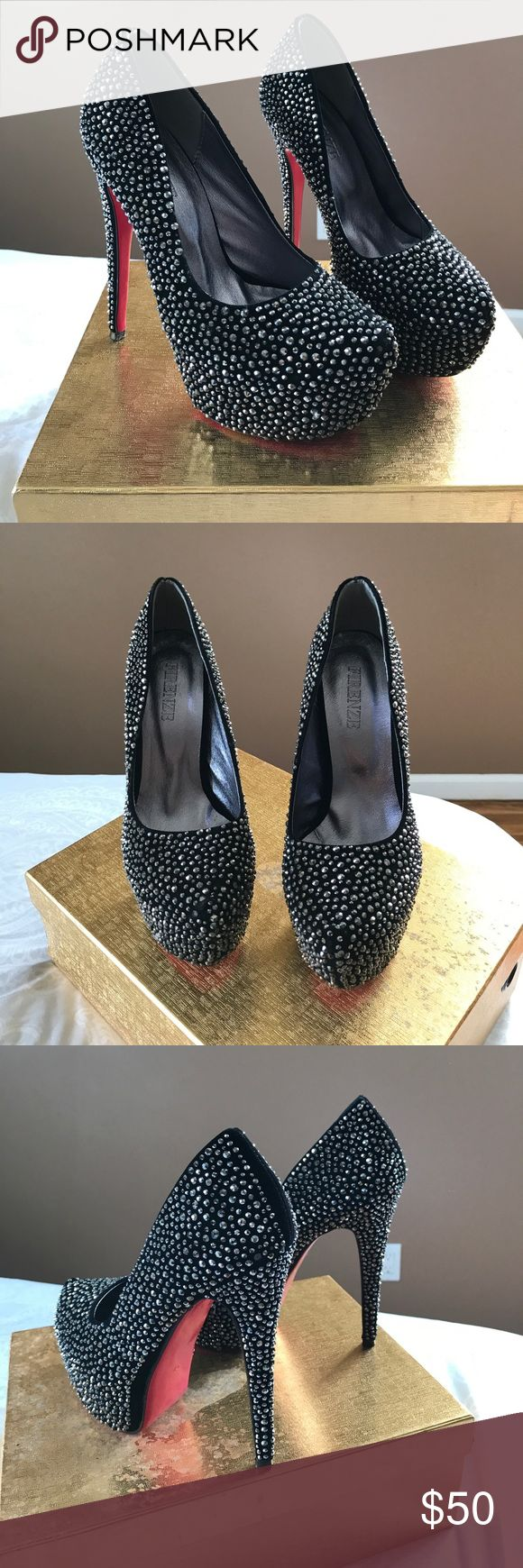 Black suede silver rhinestone heels Black suede silver rhinestone heels. Size 37. Two rhinestones missing as shown in picture, not very noticeable. Shoes Heels