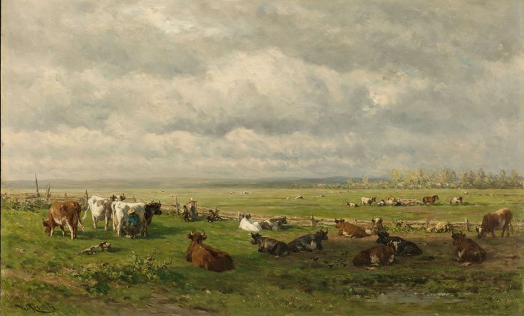 Meadow Landscape with Cattle, Willem Roelofs (I), c. 1880 oil on panel, h 49.2cm × w 77.3cm The artist may have changed this image to allow the sky and land to run together.  It seems almost like we are looking down on the cattle but the distance seems off.  I think maybe he wanted the make it seem not as open or lonely as it really was.