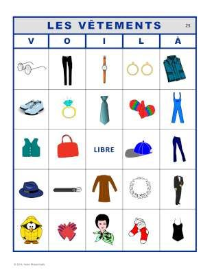VOILÀ pour LES VÊTEMENTS.  2 sets of French bingo cards for French clothing vocabulary.