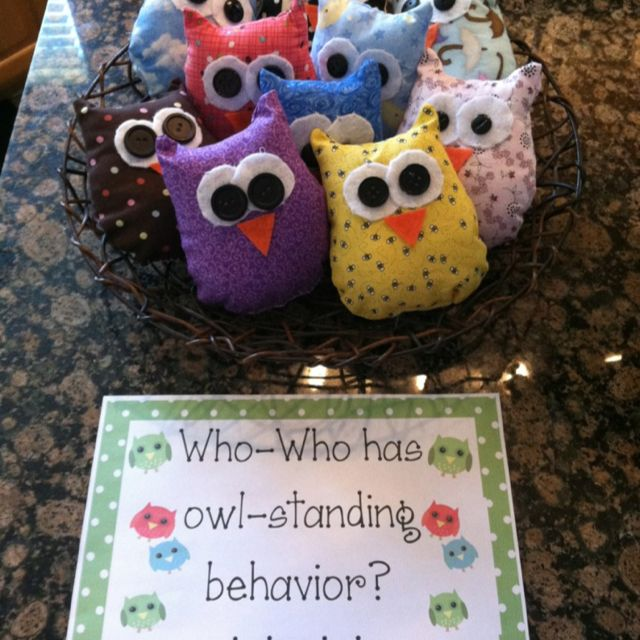 Instead of warm-fuzzies in a jar, I will put owls in a nest for a management tool in my classroom.